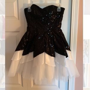 Black and White Sequined Formal Dress